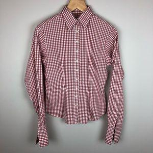 Thomas Pink Gingham Dress Shirt Size 10